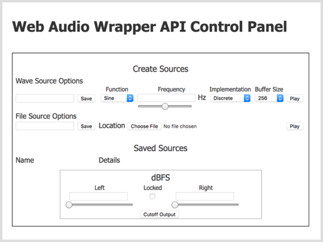 Web audio wrapper API control panel