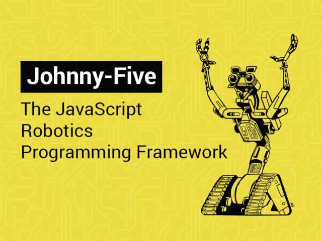 Johnny-Five Logo and a tagline that reads: the javascript robotics programming framework