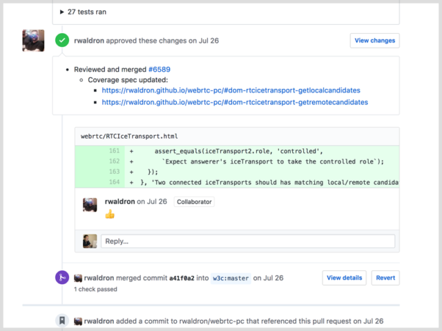 Rick Waldron approving a PR for WebRTC on Github