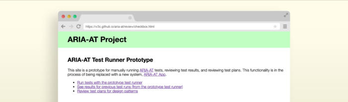 Screenshot of the Aria-AT Test Runner Prototype home page in an illustrated browser window.